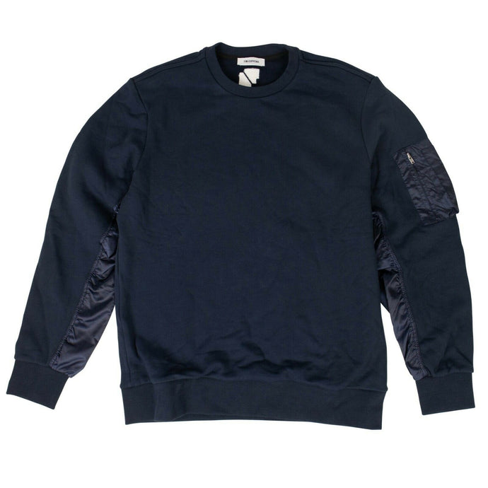 Cotton Combo Crew Shirt - Navy Blue