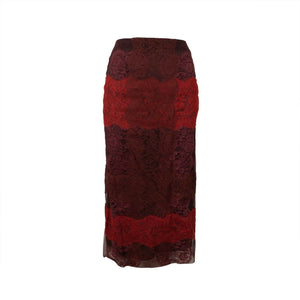 Stripe Lace Midi Skirt - Red