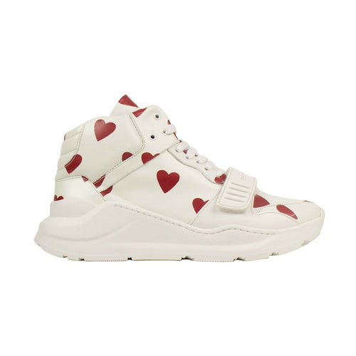 Regis Heart Print High-Top Sneakers - White