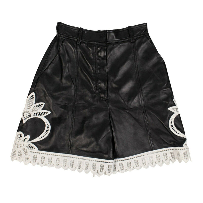 Leather Embroidered Shorts - Black