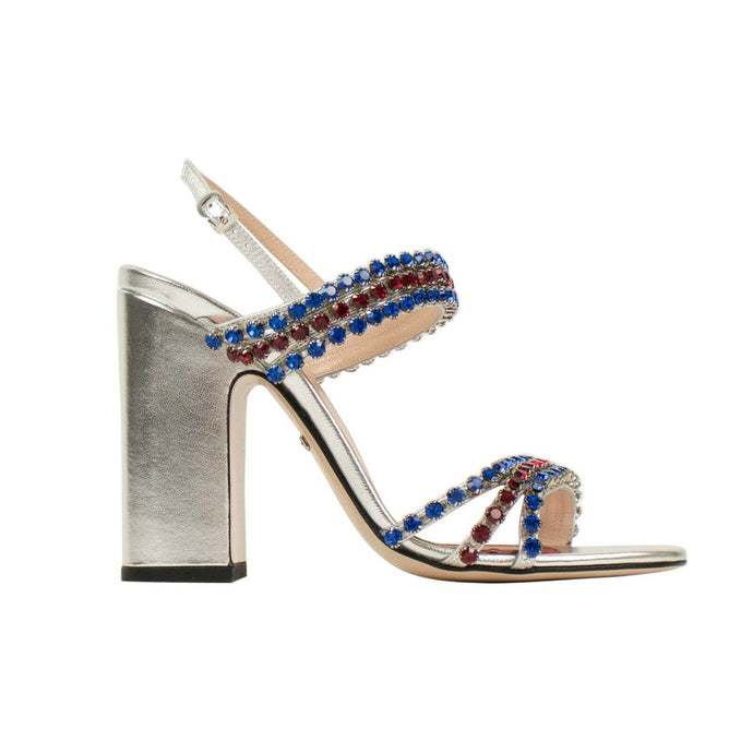 Bertie Crystal Embellished Leather Sandal Pumps - Silver / Blue / Red
