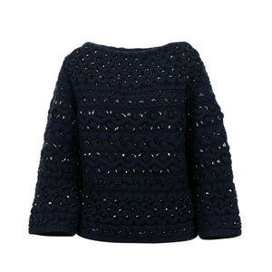 Embellished Beaded Chunky Knit Sweater Top - Navy