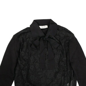Laced Front Collared Sweater Top - Black