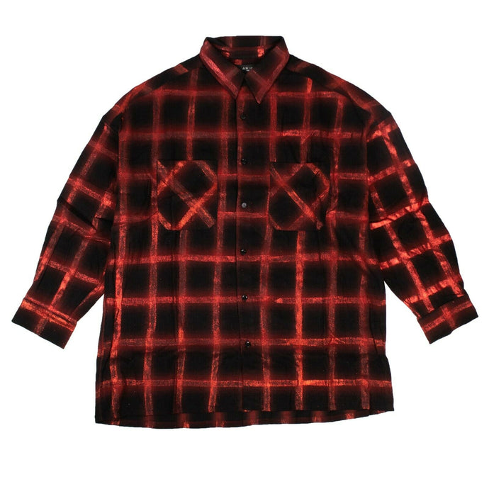 Cotton Red Glitter Plaid Oversized Shirt - Black