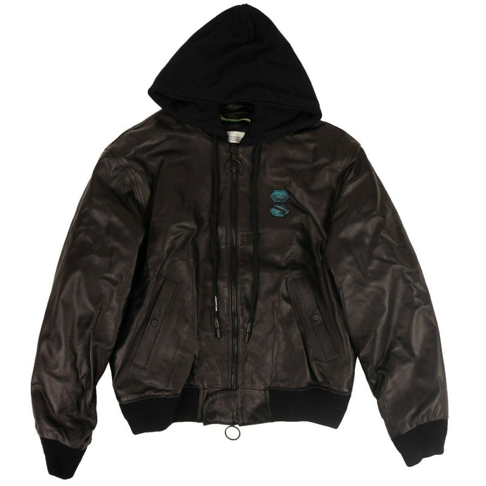 Leather Hooded Bomber Jacket - Black