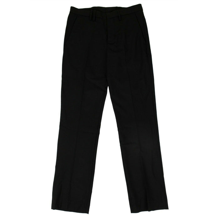 Virgin Wool Cropped Tailored Trouser Pants - Black