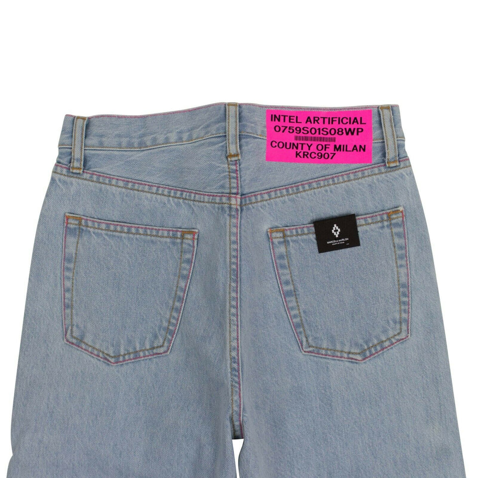 Bleached Denim Slim Jeans - Light Blue