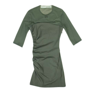 Sheer Draping Dress - Military Green