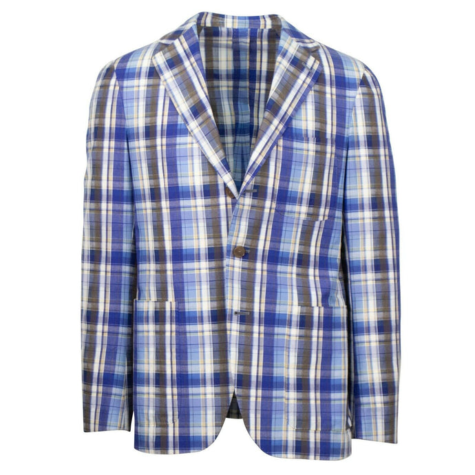 Drop 8 Plaid Cotton 3 Roll 2 Button Sport Coat - Blue