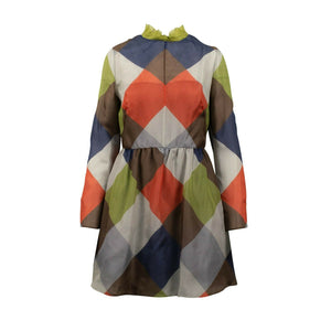 Color Block Long Sleeve Silk Dress - Multi