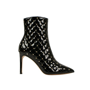 Leather 'Rockstud' Spike Ankle Boots - Black