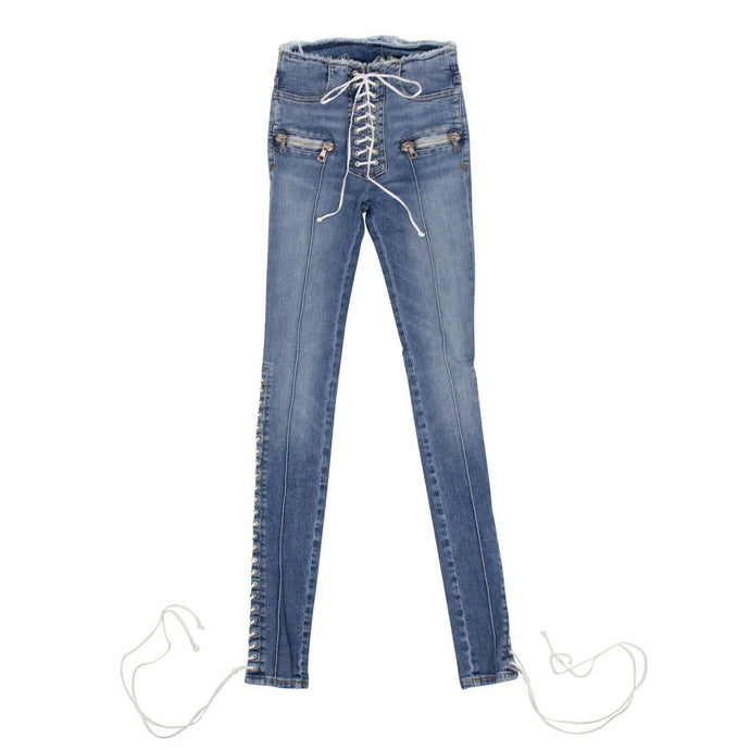 Denim Cotton Lace Up Skinny Jeans - Blue