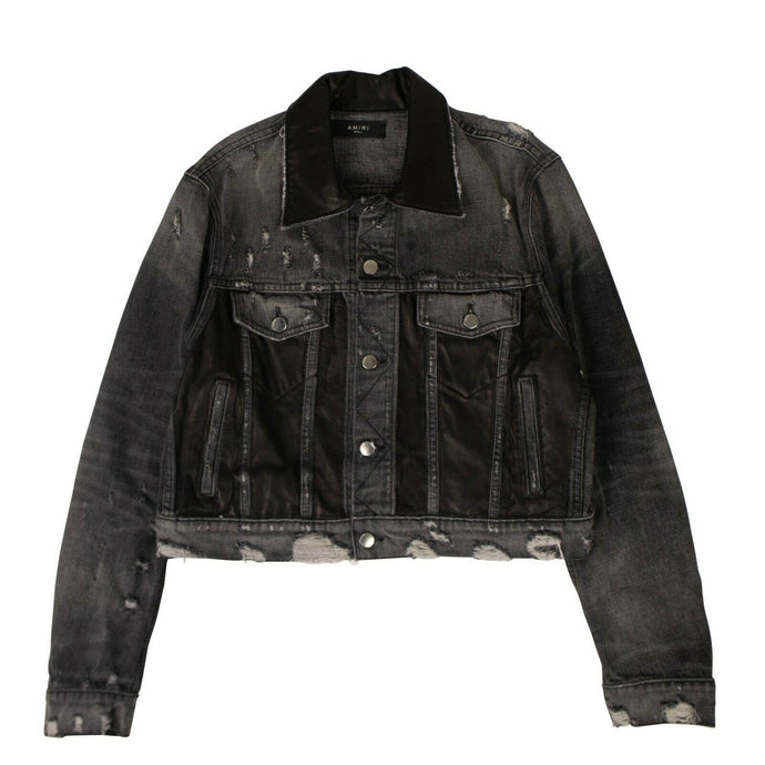 Denim Leather Panel Short Trucker Jacket - Black