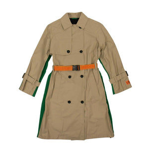 Polyester Contrast Back Trench Coat - Beige