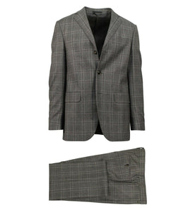Drop 6 Plaid Wool Blend 3 Roll 2 Button Classic Fit Suit - Gray