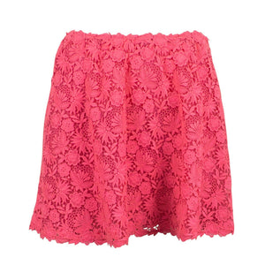 Floral Embroidered Skirt - Neon Pink