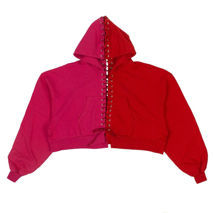 Lace-Up Hoodie Sweatshirt - Fuchsia And Red