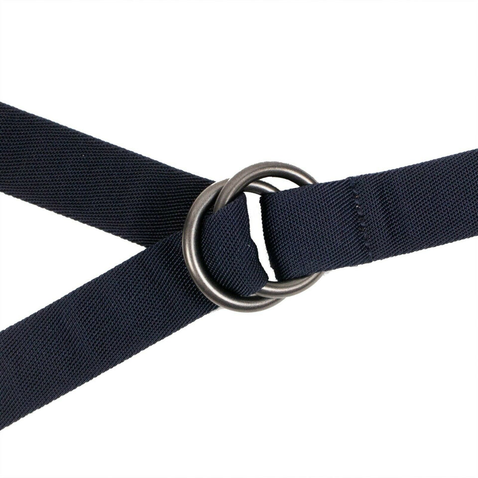 Canvas Circle Buckle Belt - Navy Blue