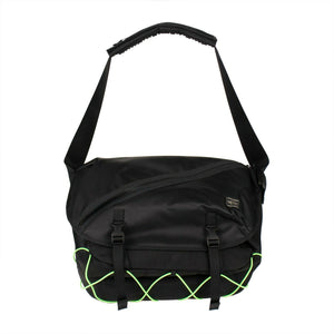 Canvas Foldover Messenger Bag - Black