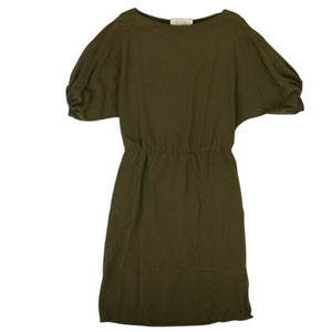 Crepe Puff Sleeve Midi Dress - Leaf Green