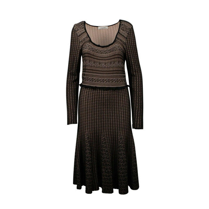 Scoop Neck Knit Dress - Black / Beige