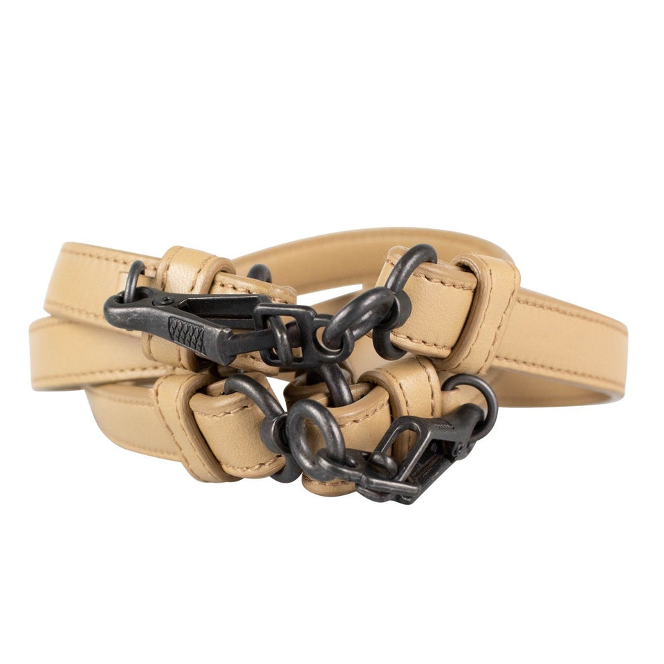 Leather And Black Chain Belt - Light Brown