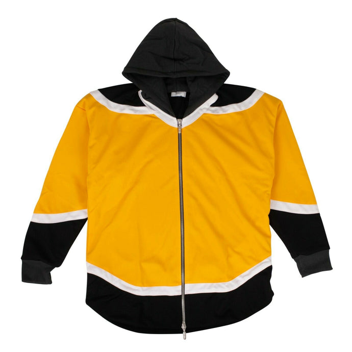 Nylon Zip Up Jersey Hoodie Sweatshirt - Yellow