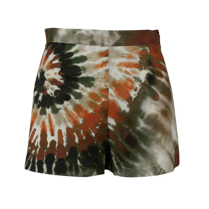 Tie Dye Cotton Blend Shorts - Green/Multi