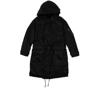 Belted Parka Long Coat - Black
