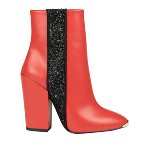 Leather Glitter Stripe Short Boots - Red