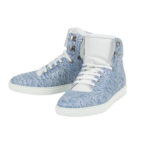 Crinkled Fabric High-Top Sneakers - Sky Blue