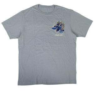 Organic Cotton Golden Dragon T-Shirt - Ghost Blue