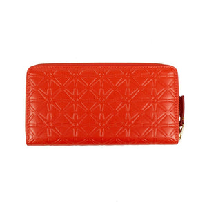 Leather Geometric Embossed Wallet - Orange