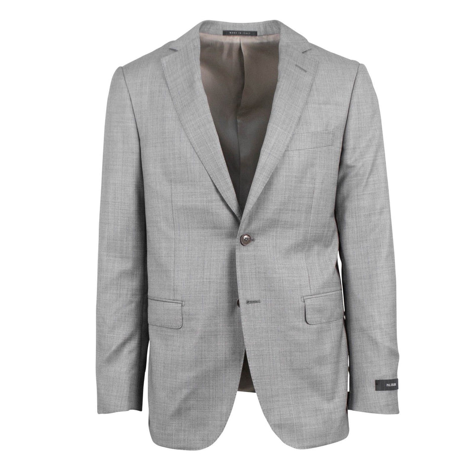 Striped Wool Two Button Suit - Light Gray