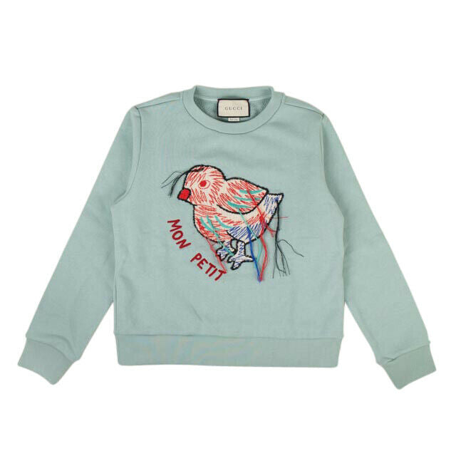 Cotton Embroidered 'Mon Petit' Crew Neck Sweatshirt - Blue