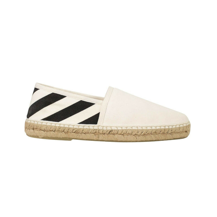 Striped Espadrille Shoes - White