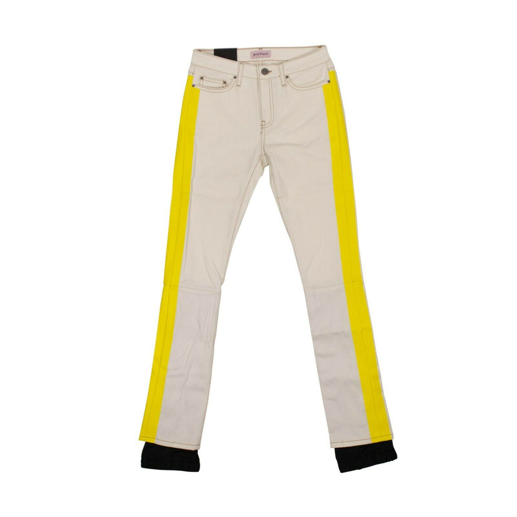 Denim Yellow Stripped Stretch Jeans - White