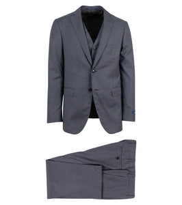 Drop 6 Micro Graph Checked Wool Two Button Three Peice Suit - Gray