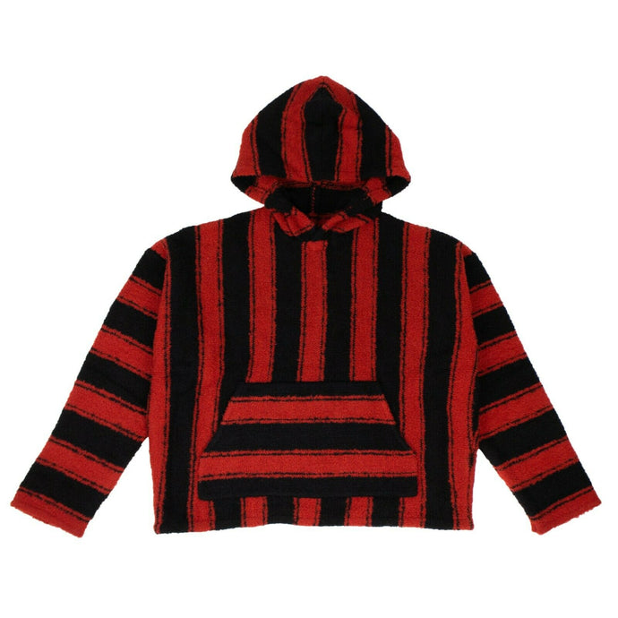 Wool 'Baja' Striped Pullover Hoodie Sweatshirt - Red/Black