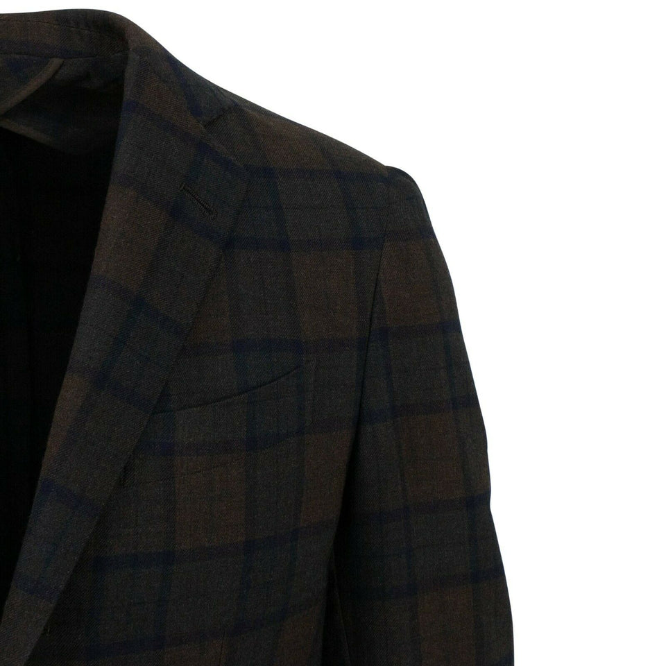 Drop 10 Plaid 3 Roll 2 Button Wool Sport Coat - Brown