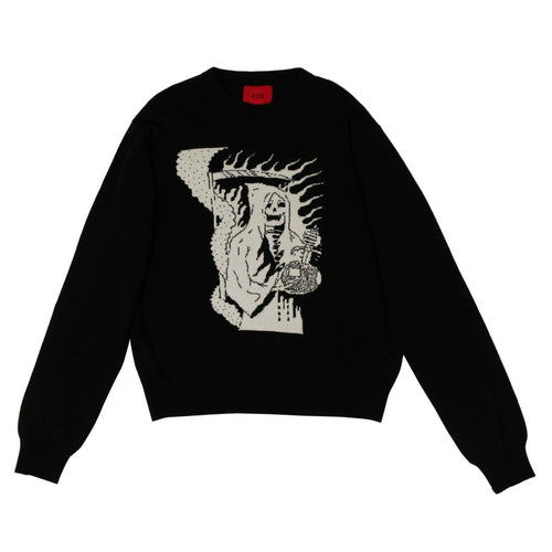 Wool Blend Reaper Knit Sweater - Black