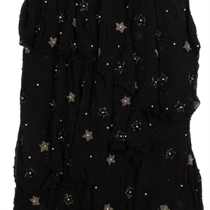 Silk Star Beaded Asymmetric Long Dress -  Black