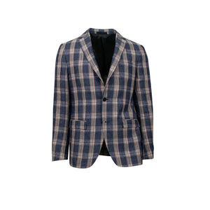 Drop 8 Plaid 3 Roll 2 Button Linen Sport Coat - Blue