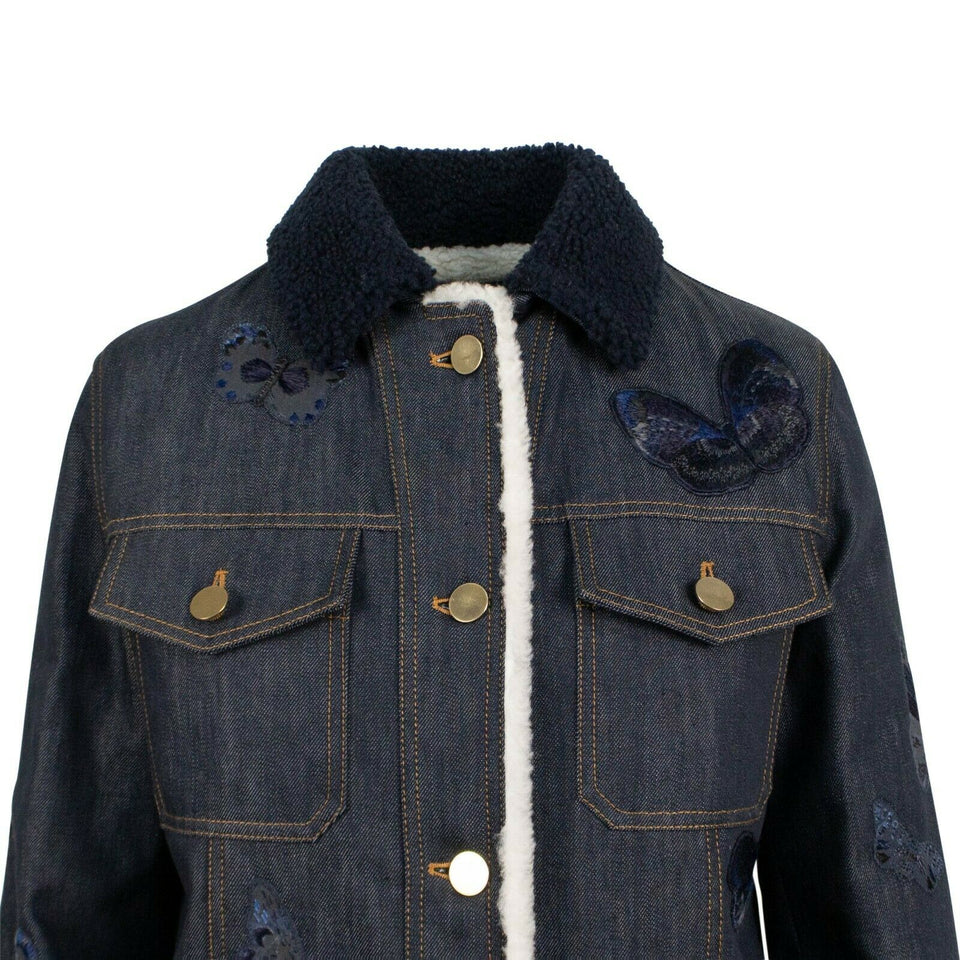 Butterfly Embroidered Shearling Lined Denim Jacket - Blue