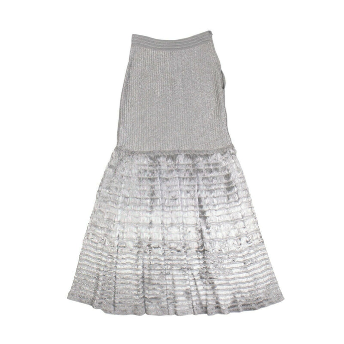 Metallic Knitted Long Skirt - Metallic