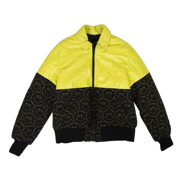 Leather Smiles Bomber Jacket - Yellow