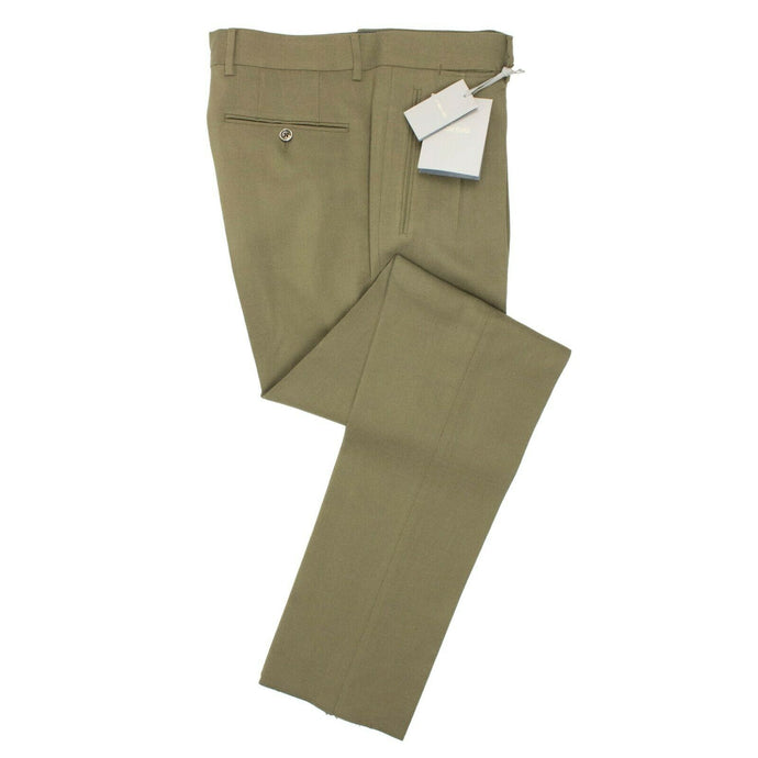 Rayon Pleated Dress Pants - Olive Green