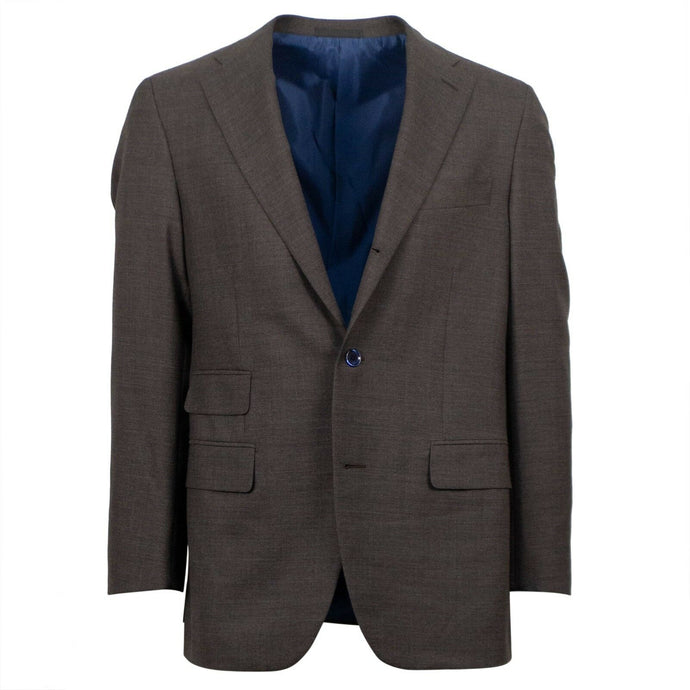 Drop 7 Wool 3 Roll 2 Button Solid Slim/Trim Fit Suit - Brown