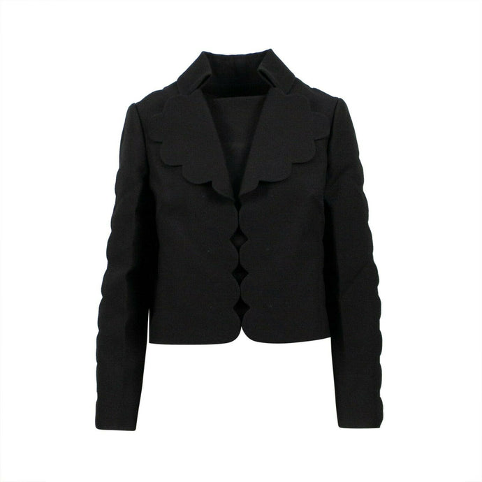 Wool Blend Scalloped Trim Blazer - Black