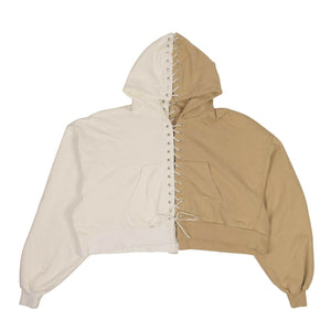 Lace-Up Hoodie Sweatshirt - Beige And White